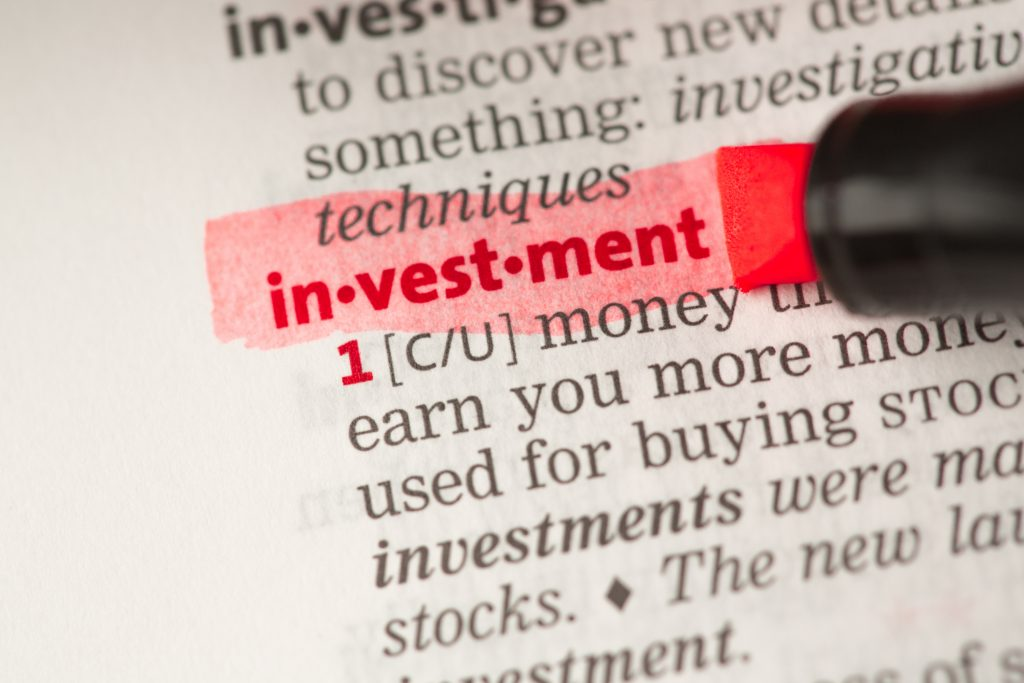 Investment definition highlighted in red