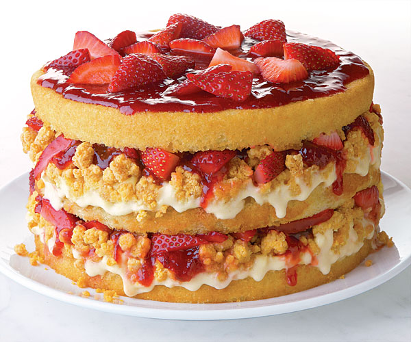 Strawberries and Corn-Cream Layer Cake with White Chocolate Cap'n Crunch Crumbs