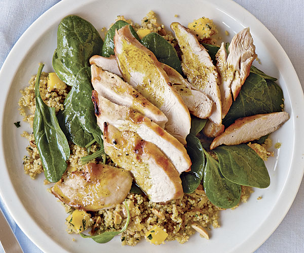 Grilled Chicken with Curried Couscous, Spinach, and Mango