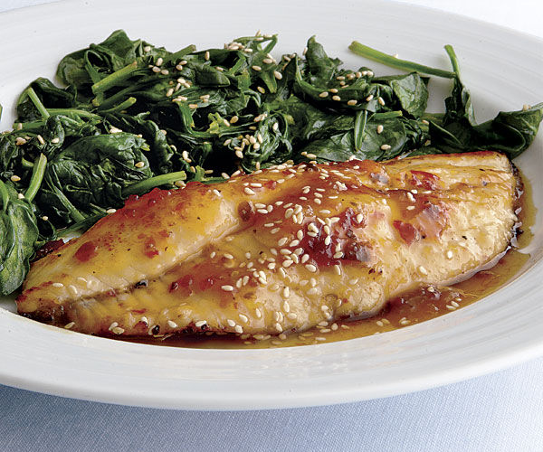 Catfish with Apricot-Chili Glaze and Wilted Spinach