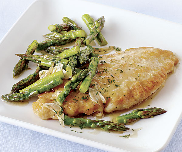 Chicken Paillards with Asparagus, Lemon, Garlic, and Dill