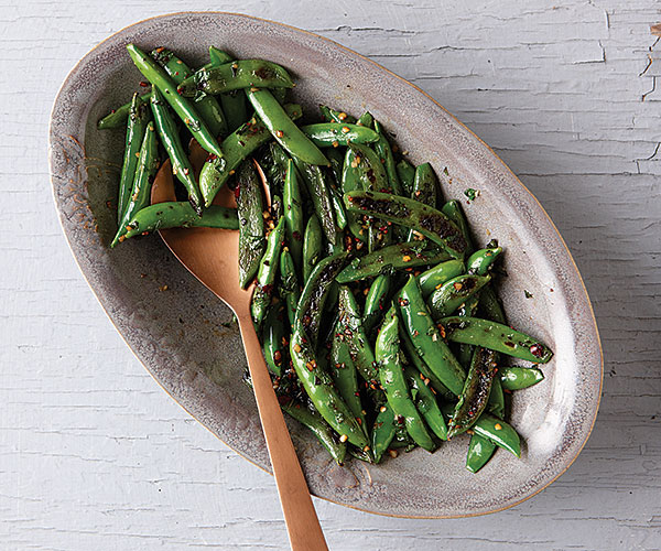 Blackened Sugar Snap Peas with Garlic and Mint