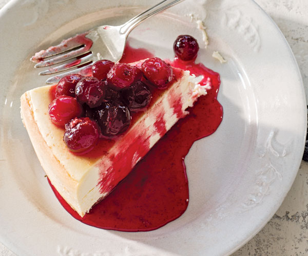 Dairy-Free Cheesecake Topped with Cranberry Glaze