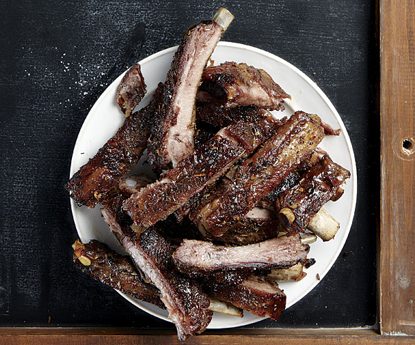 Herb-Rubbed Pork Spareribs with Honey-Lemon Glaze