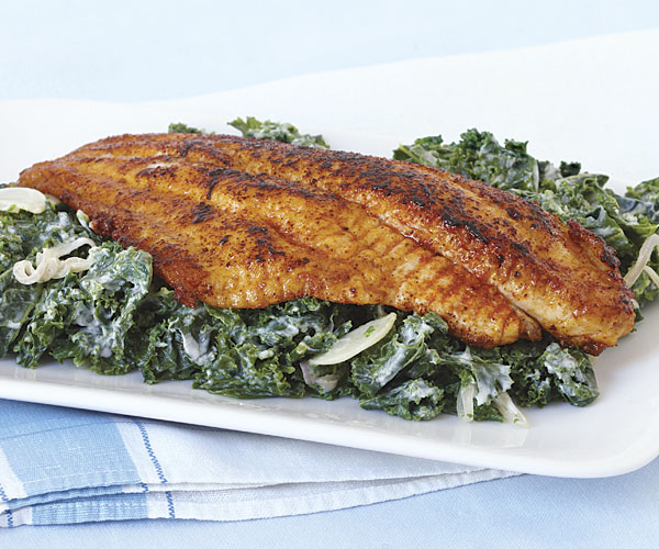 Pan-Seared Catfish with Creamy Greens