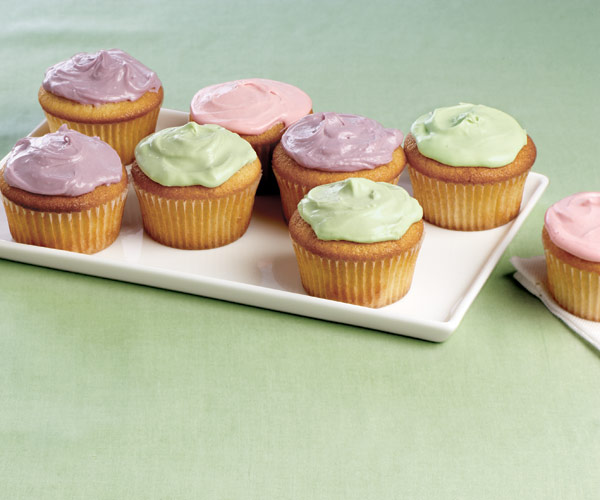 Vanilla Cupcakes with Colored Cream Cheese Frosting