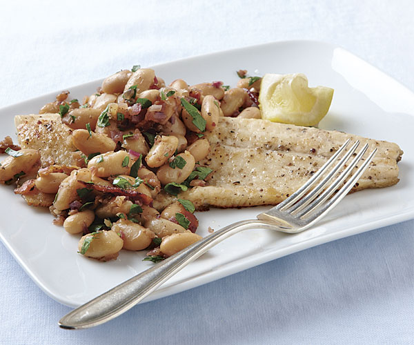 Pan-Fried Trout with White Beans, Bacon, and Rosemary