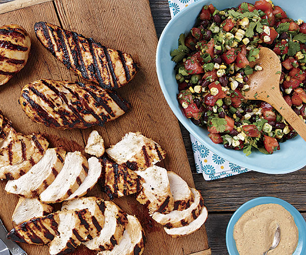 Grilled Chipotle Chicken Breasts with Black Bean Salsa
