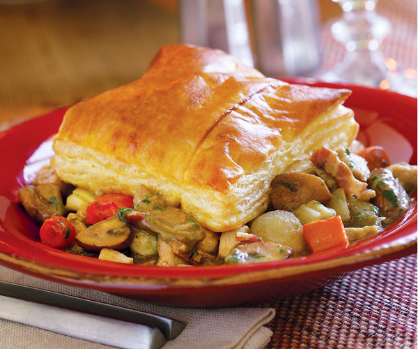 Chicken-Vegetable Pot Pie with Puff Pastry Crust