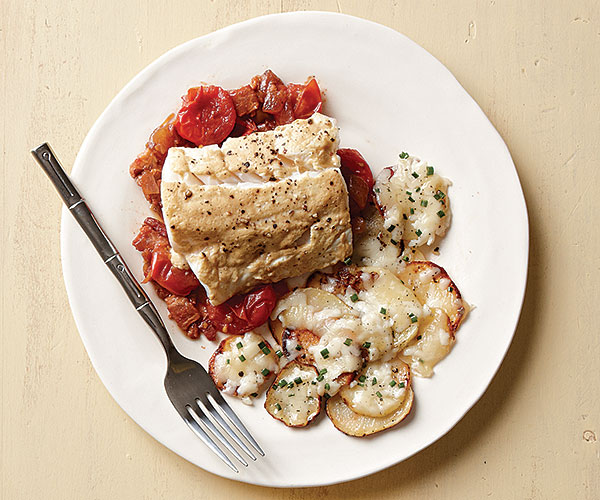 Baked Cod with Tomato-Bacon Jam