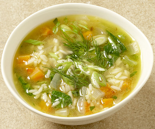 Chicken and Rice Soup with Spinach, Lemon, and Dill